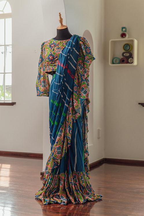 """Ira"" Rajasthani Pre-Draped Skirt and Blouse"