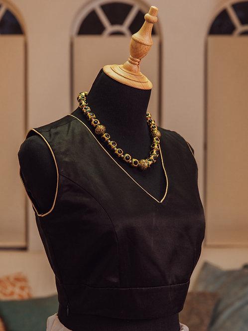 Plain Black Sleeveless Silk