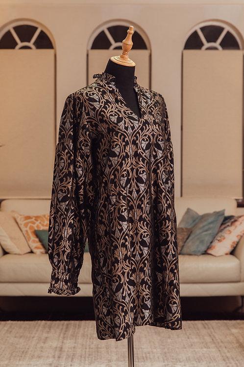 Black brocade pure silk dress