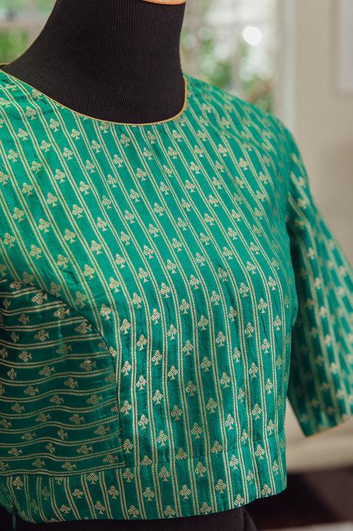 Green Banarsi Silk with Gold Zari Design