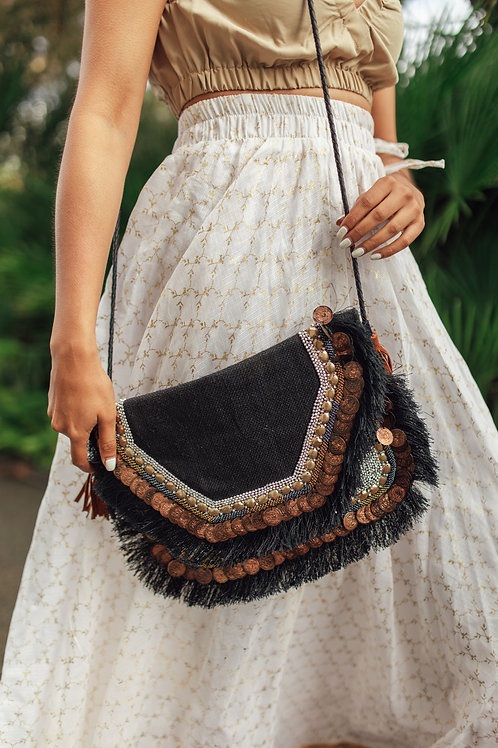 Boho Clutch/ Shoulder Bags with Recycled Coins