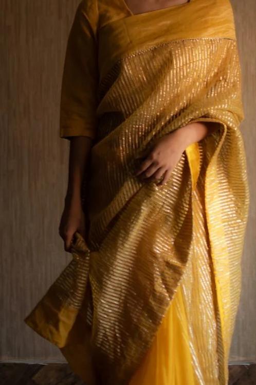 """Paheli"" yellow gota saree"