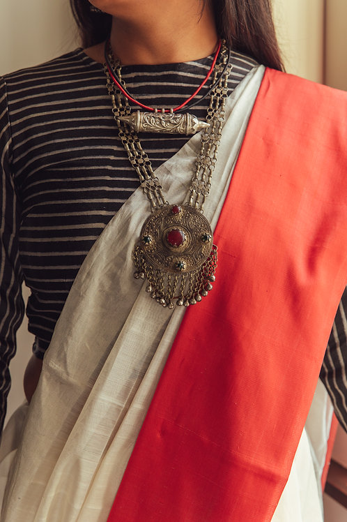 Vintage handmade real silver necklace