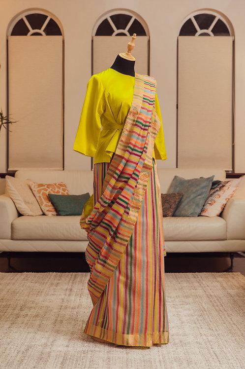Sarang- striped Raw Mango saree