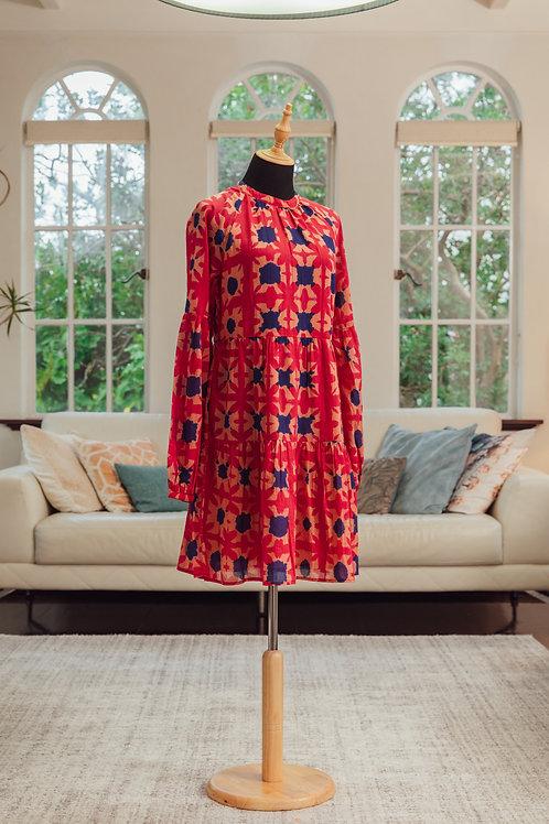 Red & navy handwoven dress