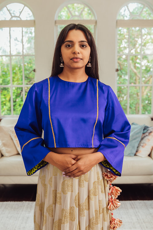 Sapphire Blue pure Silk with Long Sleeves