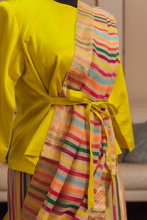 Citrus Yellow Banarsi Silk with Front Tie and Long Sleeves