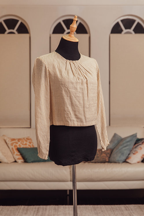 Beige, Pale Gold and Silver Striped Long Top