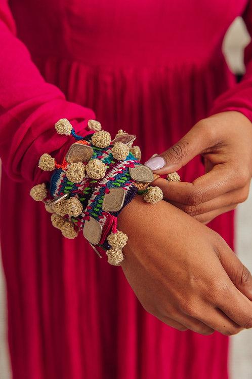 Pink wide coin bracelet