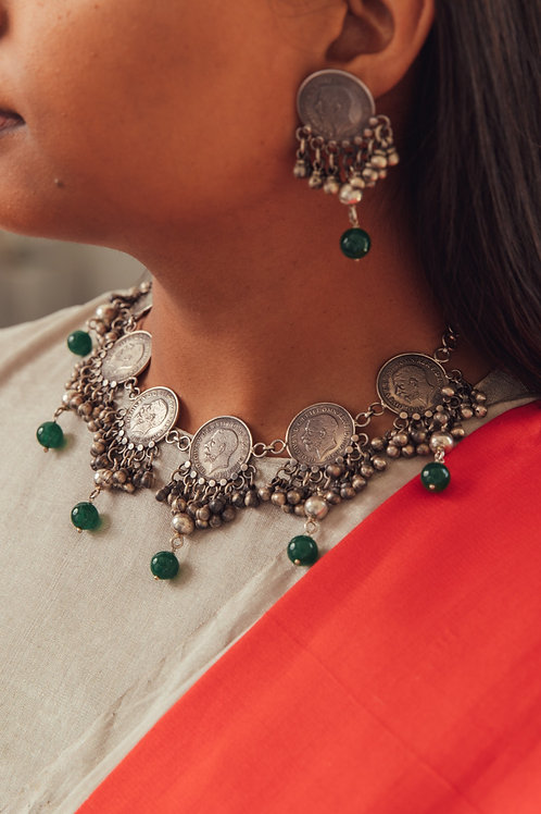 Hansini silver necklace and earrings set