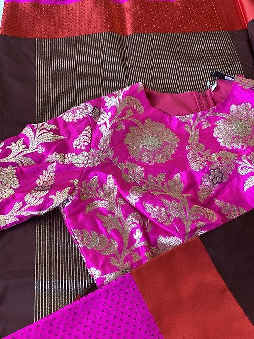 Rani Pink Banarsi Silk with Navy and Sky Blue