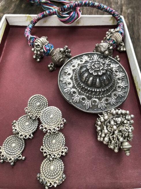 Three tiered handmade silver earrings