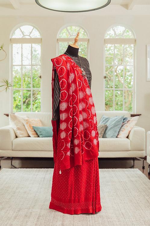 """""""Vasu"""" bandhani pure silk saree"""