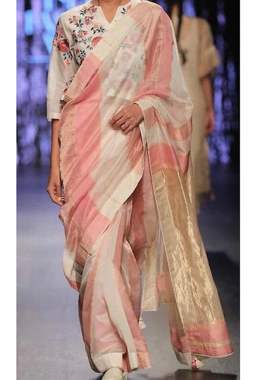 Khwaab-pink champagne saree and blouse set