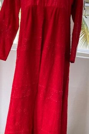 Red chikankari kurti