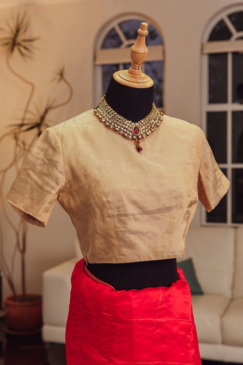 Gold Tissue Silk with Short Sleeves