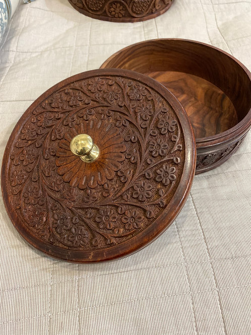 Hand-carved wooden roti container