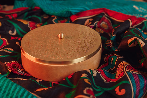 Brown Handcrafted Wood Roti Box with Brass Lid