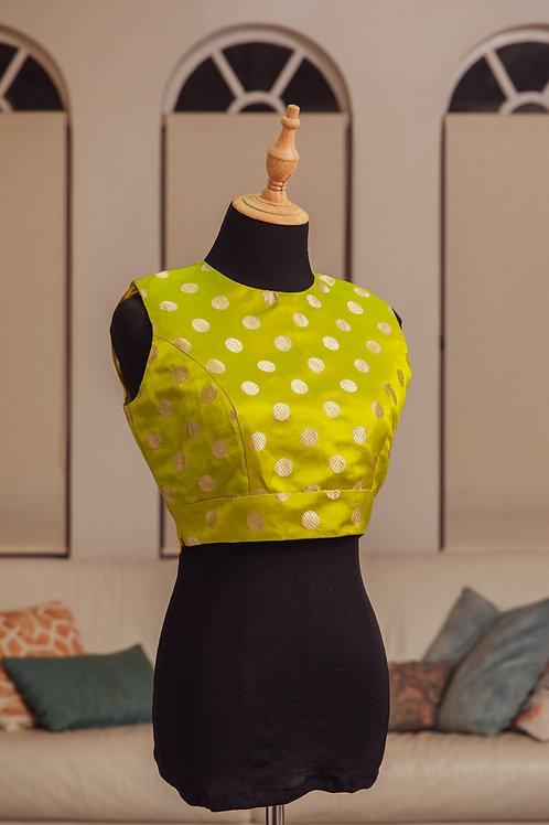 Handloomed Lime Silk Blouse