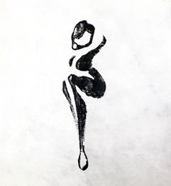 タイトル/真珠の耳かきの少女 制作年/2021 技法/耳かきに油性木版 サイズ/90×90㎜ エディション/24 原版/耳かきに油性木版 シート価格(税別)/¥1,200 額縁共価格(税別)/¥1,500