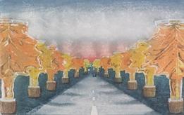 タイトル/メープルシロップストリート 制作年/2021 技法/水性木版 サイズ/365×580㎜ エディション/5  シート価格(税別)/¥50,000