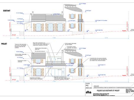Plans permis de construire d'une rénovation de villa à Marseille
