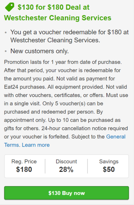 Yelp Special Offer Westchester Cleaning Services