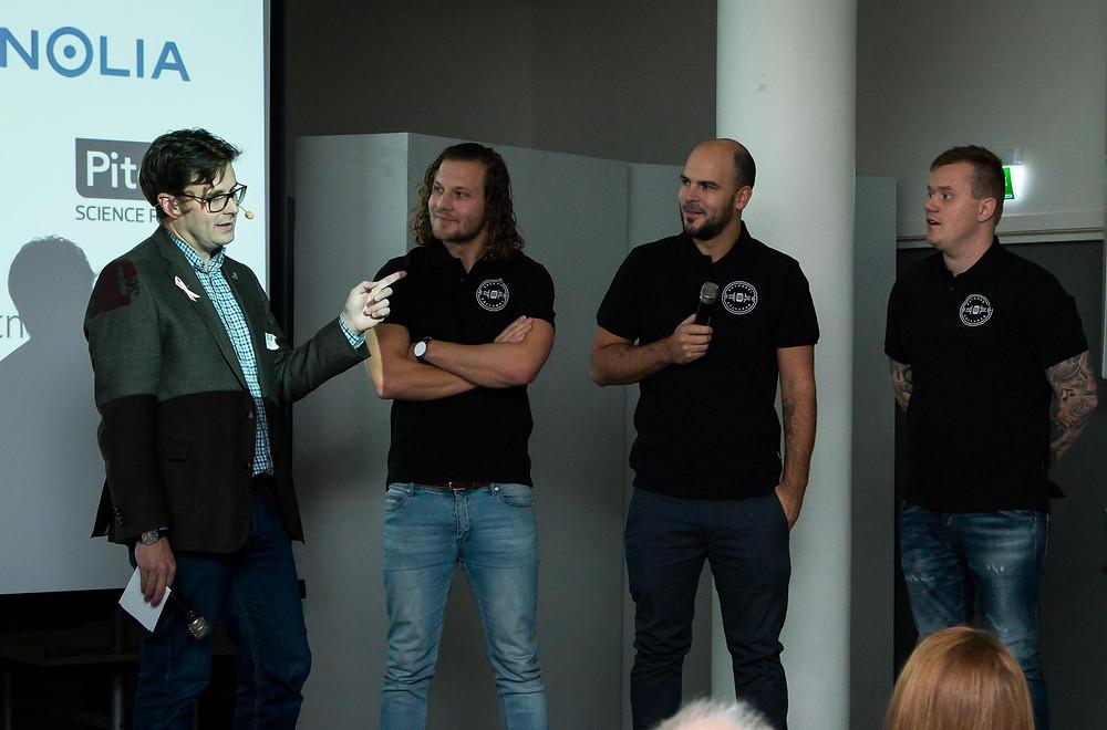 David Sundström, intervjuar David Wellborg, Gustav Ahlin och Fredrik Nilsson