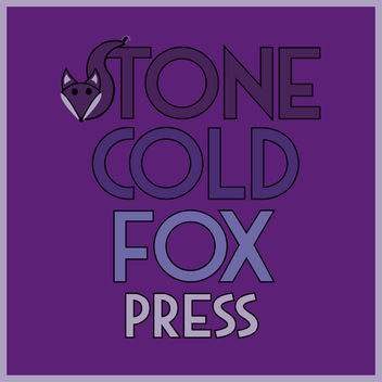 Purple logo for 'Stone Cold Fox Press' were the S in Stone is represented by a fox tail