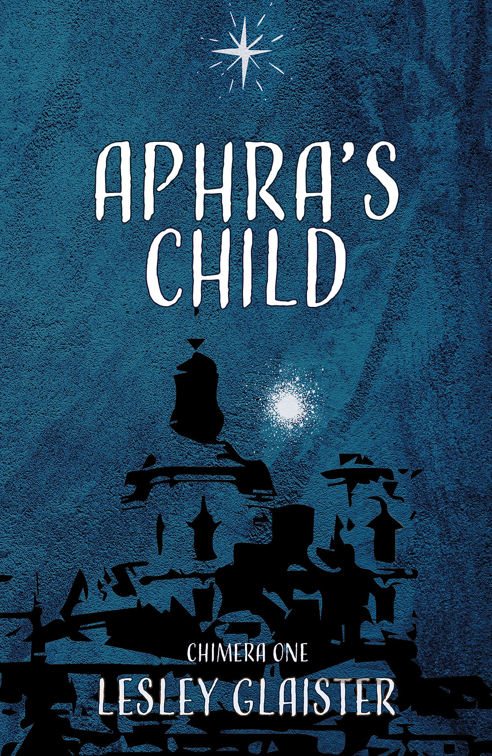 Cover of 'Aphra's Child' (blue with a silver star and a black line drawing of a city)