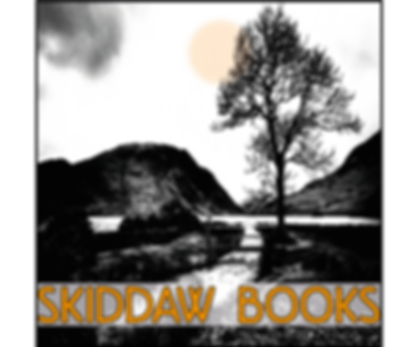 Logo for Skiddaw Books: black and white image of a tree and Scottish mountain, with 'Skiddaw Books' in orange at the bottom