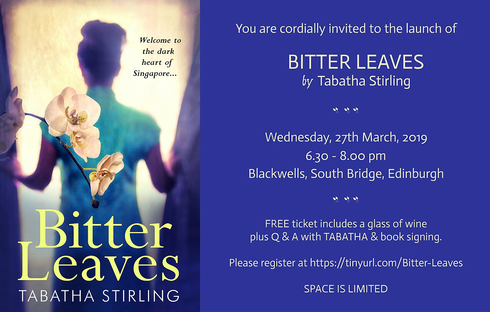 flyer for the launch of Tabatha Stirling's novel 'Bitter Leaves' featuring the book cover and information about the event