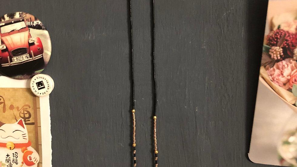 Mondmaskerketting goud/zwart, met Miyuki en Swarovski parels