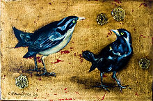 Painting of two blackbirds
