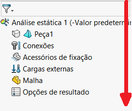 Árvore de recursos SOLIDWORKS Simulation