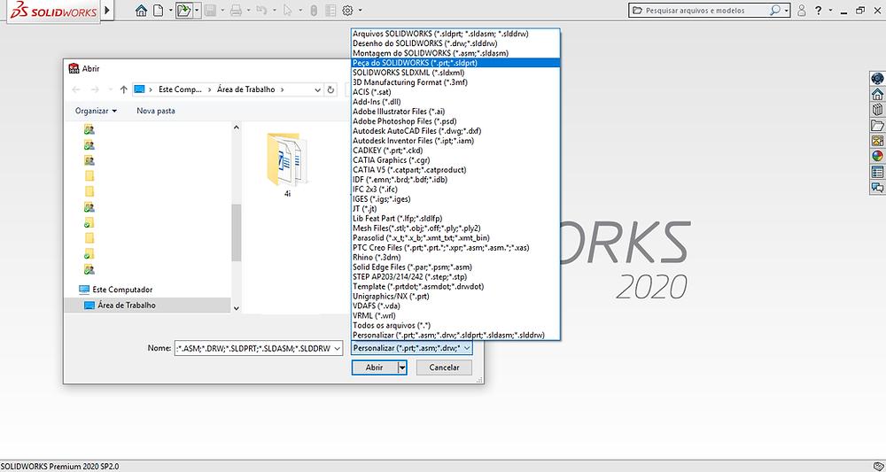 Salvar e abrir arquivos SOLIDWORKS em diferentes formatos
