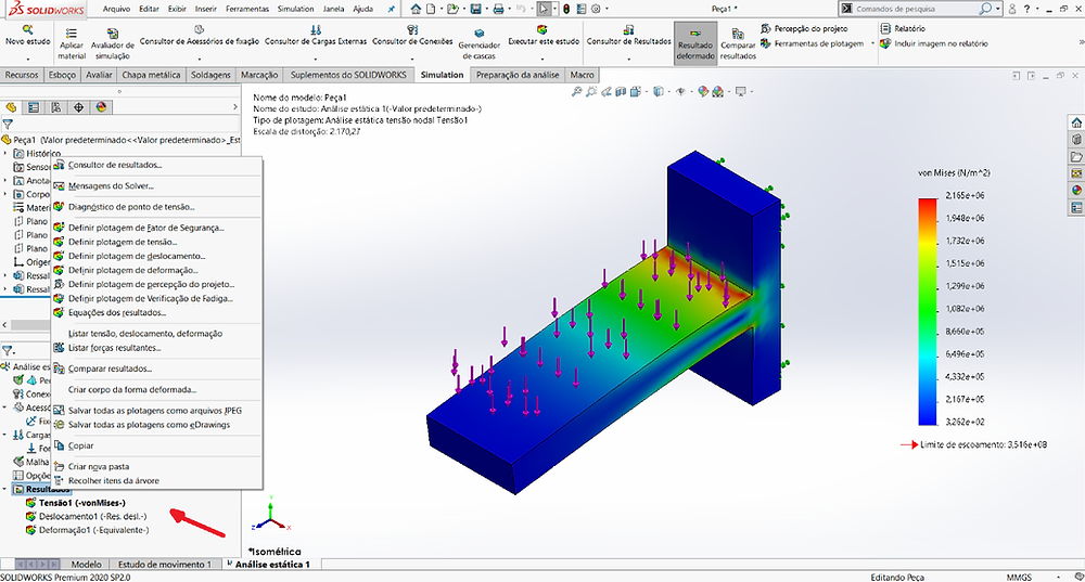 Visualização de resultados SOLIDWORKS Simulation