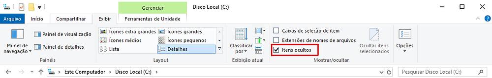 Exibir Itens ocultos Windows Explorer