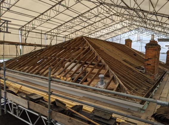 Roof being prepared