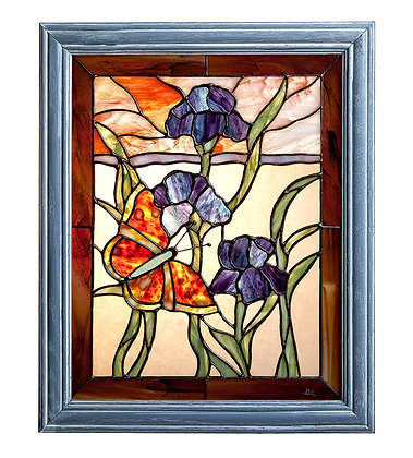 Butterfly & Iris' Stained Glass Window