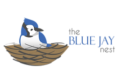 Beautiful cute blue jay logo for the blue jay nest b&b in paradise newfoundland