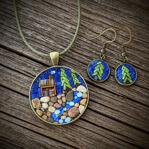 Cabin with Cord and Earrings