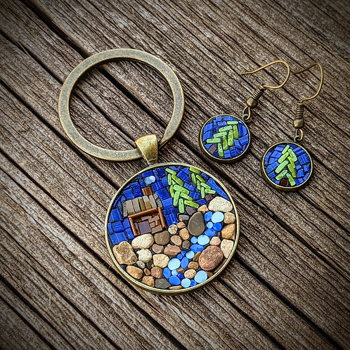 Cabin Keyring and Earrings