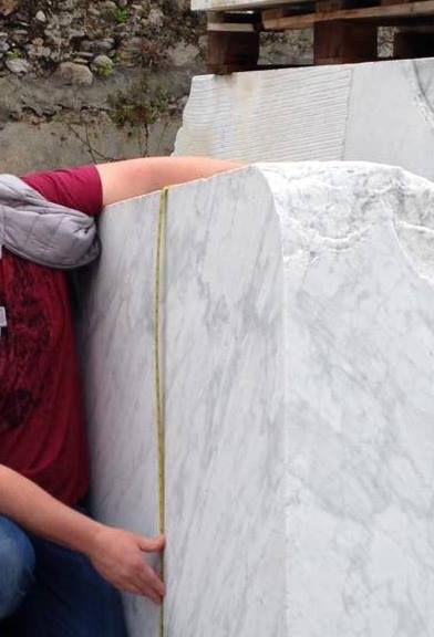 Scott Gentry measuring Carrara marble block