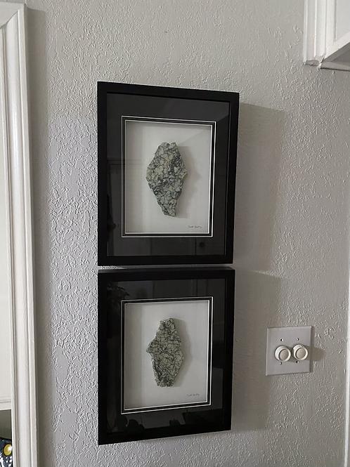 Pair of 11x14in Framed Campan Vert Marble Artwork