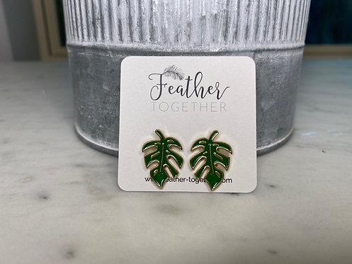 Palm Leaf Stud Earrings