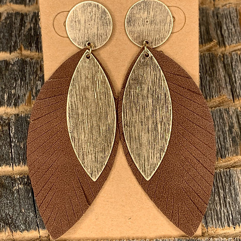 Brown and Gold Leaf Earrings