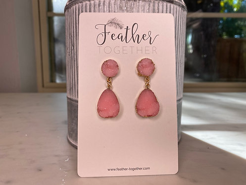 Pink Druzy Drop Earrings
