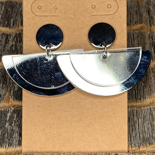 Half-Circle Silver Earrings