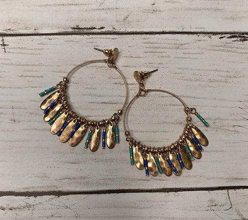Bead + Charm Hoop Earrings